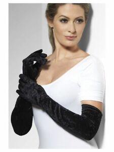 IAL 22546 Samt Handschuhe Opera lang Veloursamt schwarz Samthandschuhe black