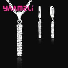 925 Sterling Silver Cubic Zirconica Crystal Pendant Necklace Earring Set  **UK**