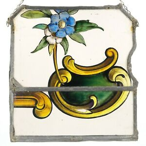 Antique Leaded Glass Window Hand Painted Italian Style with Metal Frame & Chain