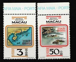 MACAU MACAO - Mi.495-96 - Geografische Lage Macaus- 1982 - perfekt Rand - **/MNH