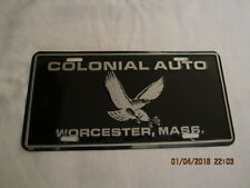 """Vintage Metal License Plate - Colonial Auto Worcester, Mass - 6"""" by 12"""" - 1980's"""