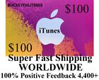 $100 APPLE US ITUNES APP STORE CARD Gift Certificate FAST Worldwide Shipping For Sale