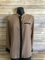 Ravel Long Sleeve Blouse Size Small Womens Brown Black V-neck Shirt Top New NWT