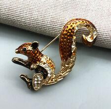 Betsey Johnson Brown Enamel Crystal Small Cute Squirrel Brooch Pin