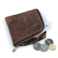 Men Crazy Horse Leather Vintage Coin Wallet Zipper Around Brown Cash Pocket