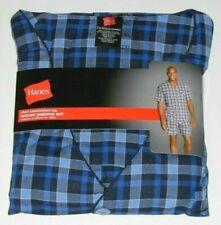 Hanes 2pc Woven Pajama Set Shirt & Shorts - Plaid Adult Sizes New w/Tag