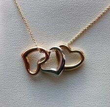 """NEW Petite Triple Heart Pendant Necklace- 14K Multi-Tone Gold- 18"""" Rolo Chain"""