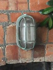 Retro Industrial Die-Cast Metal Vintage Bulkhead Wall Light Verdigris Finish