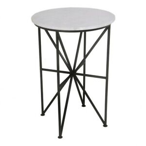 """24"""" T Marble Accent Table Round Smooth Polished Marble Top Modern Iron Base"""