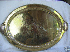"""Antique Decorative Crafts Handmade BRASS Shell Drinks Serving  20"""" Tray India"""