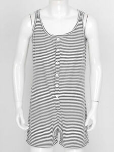 Men's One Piece Sleeveless Striped Pajama Loungewear Short Rompers Top Junpsuit