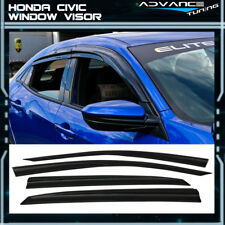 For 16-18 Honda Civic X 10th Hatchback 5Dr Mugen ABS Window Visors Tinted Vent