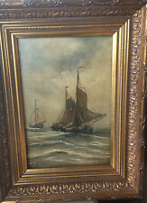 Beautiful old dutch painting Fishing Boats at Sea  signed H.W. M.    Mesdag