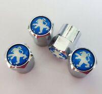 Chrome Peugeot Blue Wheel Valve Dust Caps. GTI 207 206 307 107 RCZ