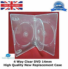 5 x 4 Way Clear DVD 14mm Spine Holds 4 Discs HIGH QUALITY NEW REPLACEMENT CASE