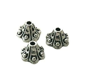 100 Antiqued Tibetan Silver 8.5x4.5mm Tulip Scalloped Flower Bead Caps Beads