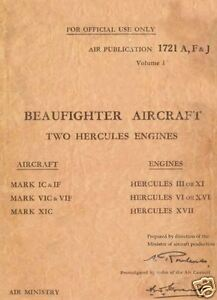 BRISTOL BEAUFIGHTER MAINTENANCE MANUAL RARE DETAIL WWII ARCHIVE 1940's RAF