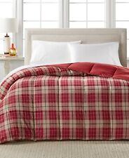 Home Design Down Alternative Hypoallergenic Reversible Plaid Comforter KING Red