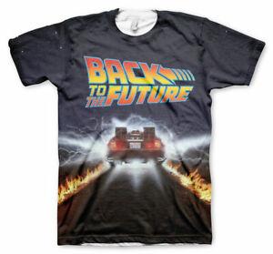 Licensed Back To The Future - Delorean Fire Tracks Allover Men's T-Shirt S-XXL