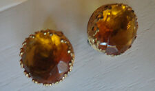 Vintage Gold Stone Round Clip Earrings