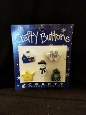 Wooden Crafty Buttons Snowman, Snowflake, Star, Tree, & House Winter Theme  R