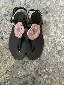 Armani Jeans Black Flip Flops With Strap 37 Sz 4 Pink Rose