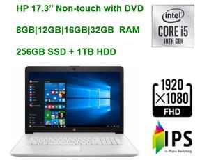"2021 HP 17.3"" FHD Laptop i5 , upto 32GB RAM & 256GB SSD +1TB HDD plus DVD"
