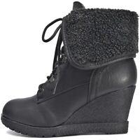 Plateau Damen Schuhe Ankle Boots Wedges Keilabsatz Winter Stiefeletten warm Fell