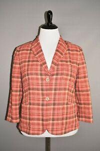 TALBOTS $129 Red Plaid Textured Cotton Blazer Jacket Size 16