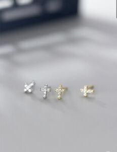 Ohrringe Ohrstecker 925 Silber Kreuz Unisex Strass silber/vergoldet