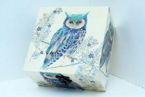 Wood handmade hinged medium storage/trinket box Blue Lined Owl