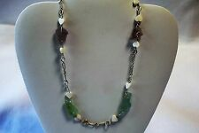 Hand Made Sterling Silver, Sea Glass & Mother of Pearl Heart Necklace 17.5 Inch