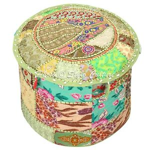 Ethnic Pouf Ottoman Cover Green Furniture Patchwork Embroidered Round 18 Inch