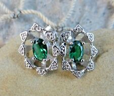 Sterling Silver Post Earrings Nib #813 New listing Genuine Emerald Gemstone Basket Flower