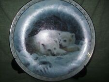 Decorative plate Polar Bear cubs - snow Winter Duane Geisness Dreamy Whispers