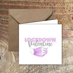 "LOCKDOWN VALENTINES CARD ""Lockdown Valentine"" Design with envelope"