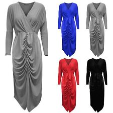 Womens Ladies Twisted Wrap Cross Over V Neck Front Ruched Bodycon Fit Midi Dress