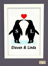 Personalised Penguins Print Poster Picture Wall Art Framed Couple Gift Love Xmas