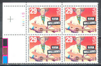 US Stamp (L188) Scott# 2723, Mint NH OG, Nice Plate Block, Hank Williams