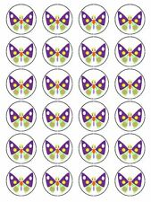 X24 CARTOON BUTTERFLY WEDDING BIRTHDAY CUP CAKE TOPPERS ON EDIBLE RICE PAPER