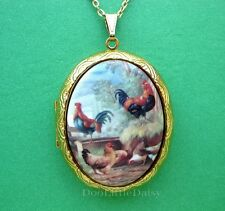Porcelain CHICKENS ROOSTERS & HENS CAMEO Costume Jewelry Locket Pendant Necklace