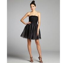 PHOEBE COUTURE Black STRAPLESS Appliqué TULLE Cocktail DRESS 6 NWT $370 Fun!