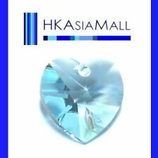 6x Swarovski Crystal Beads Heart 6202 AQUAMARINE 10mm