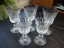 More details for 5 x thomas webb crystal beautifully cut frensham water / wine glasses, signed