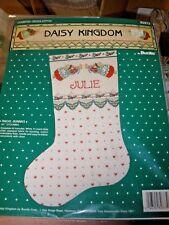 "NEW Vintage 1991 Bucilla cross stitch kit 16"" Angel Bunnies Stocking #82873"