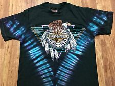Vtg 1992 Harley Davidson Southwest Indian Eagle S. Dakota Tie Dye 90s T-Shirt M