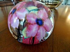 Daniel LOTTON Studio Glass CASED Clematis Paperweight SIGNED 1997 3 Flowers