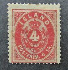 nystamps Iceland Stamp # 2 Mint OG H $230