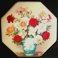 8 Sided Floral Valley Brook Farms Elegance Tin Container Made in England.