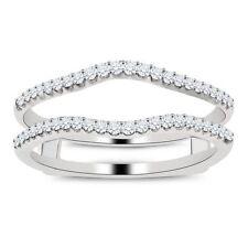 Solitaire 1/4ct Diamond Enhancer Engagement Ring Wrap 10K White Gold Fn FINE EDH